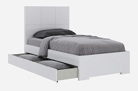 Anna Bed Twin Trundle Bed High Gloss White | Whiteline