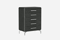 Los Angeles Chest 5 Drawers High Gloss Grey | Whiteline