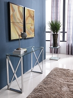 Brooke Console Clear Glass Stainless Steel Base | Whiteline