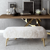 Tov Furniture Churra White Sheepskin Bench with Gold Legs