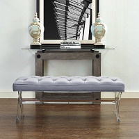 Tov Furniture Claira Grey Lucite Bench