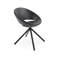 Crescent Stick Swivel Dining Chair Leather | SohoConcept