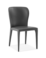 Hazel Dining Chair Grey Leather | Whiteline