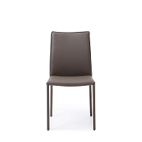Candance Dining Chair Taupe Leather Steel Legs | Whiteline