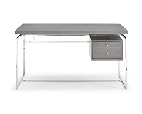 Harlow Desk In Grey Oak Veneer | Whiteline