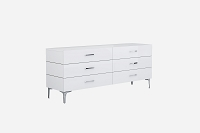 Diva Dresser Double High Gloss White 6 Drawers | Whiteline