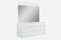 Malibu Dresser High Gloss White 6 Drawers | Whiteline