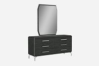 Los Angeles Dresser Large High Gloss Grey | Whiteline