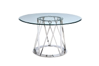 Hanover Round Dining Table Glass Polished Steel Base | Whiteline