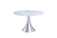 Flow Round Dining Table Marble Top Stainless Steel Base | Whiteline