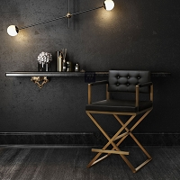 Tov Furniture Director Black Gold Steel Bar Stool