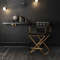Tov Furniture Director Black Gold Steel Counter Stool