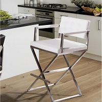 Tov Furniture Director White Steel Counter Stool