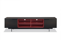 Cleveland TV Stand In Dark Smoke Oak Veneer Red Shelves | Whiteline