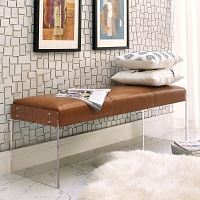 Tov Furniture Envy Brown Leather/Acrylic Bench