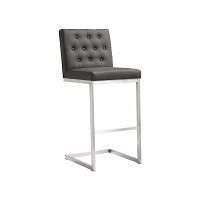 Tov Furniture Helsinki Grey Stainless Steel Bar Stool set of 2