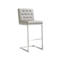 Tov Furniture Helsinki Light Grey Stainless Steel Bar Stool - set of 2