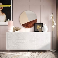 Tov Furniture Karma White Lacquer Buffet