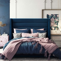 Tov Furniture Koah Navy Velvet Bed in King