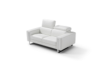 Adriano Italian Love Seat Leather Adjustable Headrest White | Whiteline