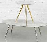 Airfoil Coffee Table Marble Oval | M.A.D.