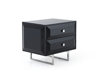 Abrazo Night Stand High Gloss Black | Whiteline