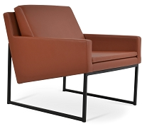 Nova Metal Black Armchair Sled Base Leather | SohoConcept