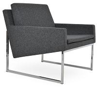 Nova Chrome Armchair Sled Base Fabric | SohoConcept