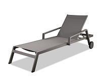 Bondi Outdoor Chaise Lounge Taupe Two Wheels | Whiteline