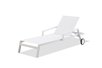 Bondi Outdoor Chaise Lounge White Two Wheels | Whiteline
