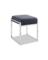 Milan Ottoman Charcoal Fabric Stainless Steel Base | Whiteline