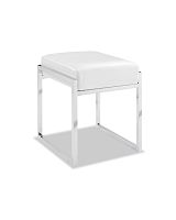 Milan Ottoman White Stainless Steel Base | Whiteline