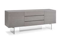 Roxana Buffet Table Grey Oak Veneer Clear Glass Base | Whiteline