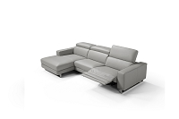 Augusto Italian Sectional Sofa Small Light Grey Leather | Whiteline