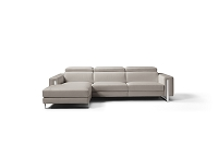 Adriano Italian Sectional Sofa Warm Grey Leather | Whiteline