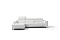 Adriano Italian Sectional Sofa White Leather | Whiteline