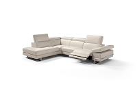 Livio Italian Large Sectional Sofa Taupe Leather | Whiteline