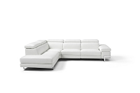 Livio Italian Large Sectional Sofa White Leather | Whiteline