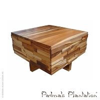 Teak Block Wood Coffee Table | Padma's Plantation