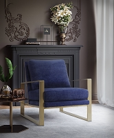 Tov Furniture Mott Navy Slub Velvet Chair