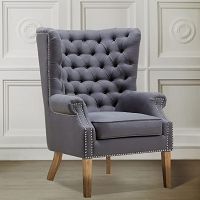 Tov Furniture Abe Grey Linen Chair -  Clearance