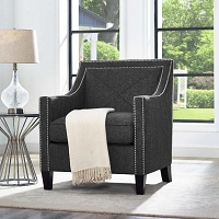 Tov Furniture Asheville Dark Grey Linen Chair -  Clearance