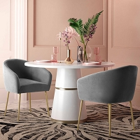 Tov Furniture Arya Performance Velvet Grey Dining Chair