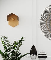 Tov Furniture Mokhtar Tan Hexagon Wall Sconce