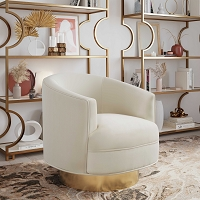 Tov Furniture Stella Cream Velvet Swivel Chair