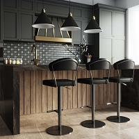 Tov Furniture Cosmo Black on Black Steel Barstool