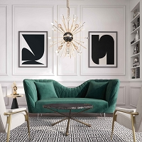 Tov Furniture Eva Forest Green Velvet Sofa