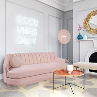 Tov Furniture Peyton Blush Velvet Sofa
