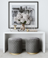 Tov Furniture Abir Grey Velvet Ottoman