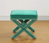 Tov Furniture Reese Green Velvet Ottoman